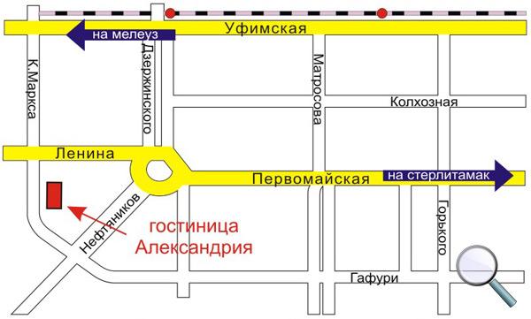 Схема проезда к гостинице «Александрия»